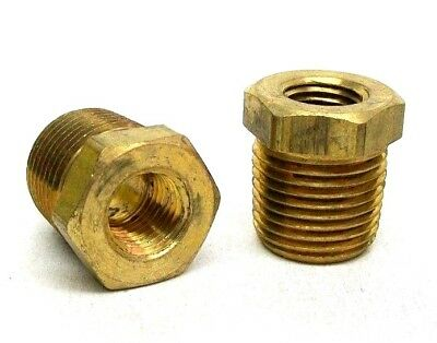 Pack Of 5 New 1/2 Mnpt X 3/8 Fnpt Brass Pipe Reducer Bushing Free Shipping Nh