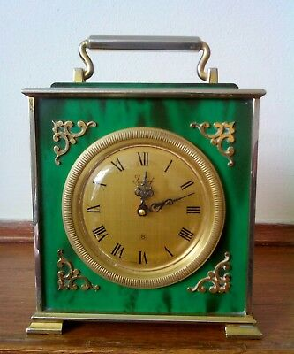 vintage carriage clock made by imhof in green enamel good condition.