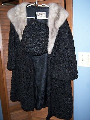 Vintage Persian Lamb Coat with Mink Collar & Hand Muff