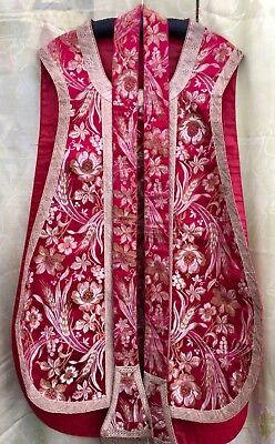 Mid 19th C Scarlet Chasuble & Stole. Excellent Condition Probably Italian