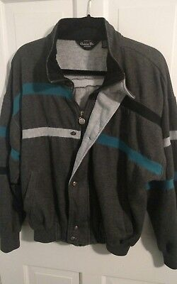 Vtg sz large CHRISTIAN DIOR front zipper and button Bomber style jacket