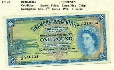 Lot 958 Bermuda  Currency £1  Note 1966 With Out Security. Very To Extra Fine