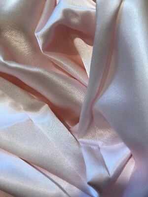 """Vintage Satin Fabric 1 Yd 30"""" Length Pale Pink Doll Clothes 42"""" Wide"""