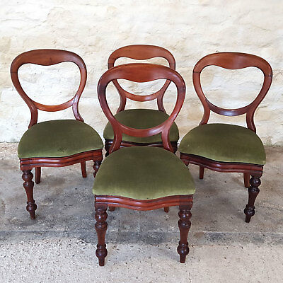 Victorian Mahogany Balloon Back Set of 4 Dining Chairs C1870 - JRS J.Reilly