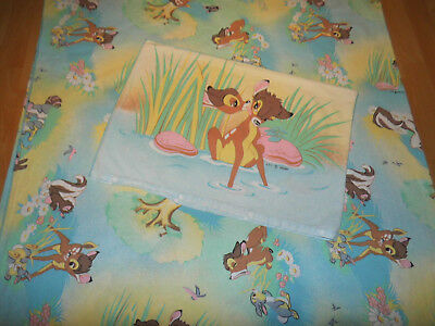 Disney BAMBI Bettwäsche Reh Stoff 70er bedding deer fabric sheet vintage 70s 80s