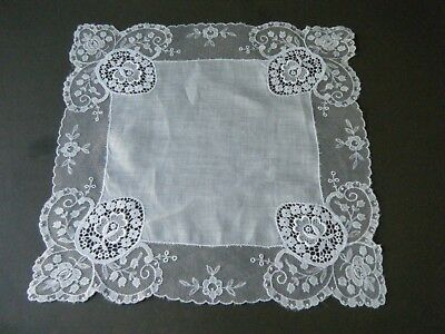 Old Antique Handkerchief Hanky Bridal schiffli  cameos &net emb/red lace H done