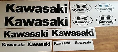 KAWASAKI DECALS x12 300mm 200mm 100mm 75mm BLACK  stickers motorcycle NON OEM