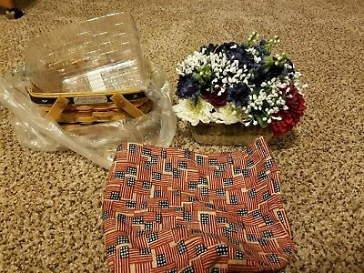 LONGABERGER 2002 BEE BASKET COMBO PROUDLY AMERICAN w/tie-on and flowers