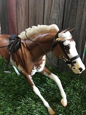 real leather breyer horse saddle and bridle