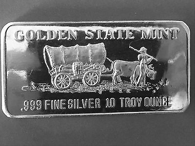 Golden State Mint Horse and Carriage 10 Troy oz .999 Fine Silver Art Bar