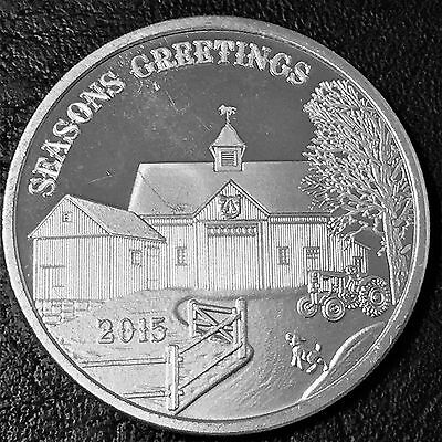 2015 Seasons Greeting 1 Troy oz .999 Fine Silver Round W2