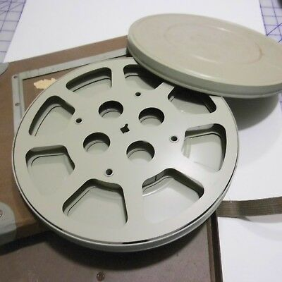 """Vintage Hollywood Film Company Empty 9"""" Metal Reel With Can and Shipping Case"""