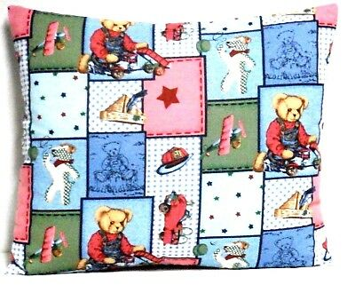 Blue Jean Teddy Toddler Pillow on Blue blocks Cotton BJT5-4 New Handmade