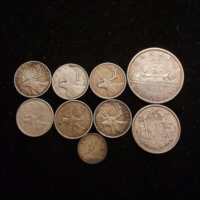 Lot of 9 Canadian Silver Coins 6 Quarters 1 Half 1 Dollar 1 Dime $3.10 Face