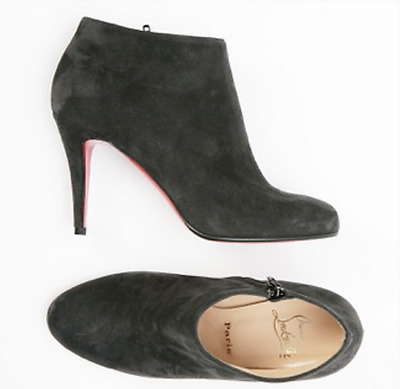 best service 64032 b95dd CHRISTIAN LOUBOUTIN BELLE Gray Suede High Heel Zip Booties Boots Size 38