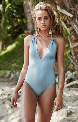 7969e08efa1 NWT LA Hearts Pacsun Shiny Halter One Piece Swimsuit Size XS - Dusk Blue