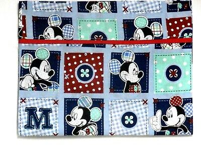 Mickey Mouse Toddler Pillowcase on Blue Squares Cotton M9-18 New Handmade