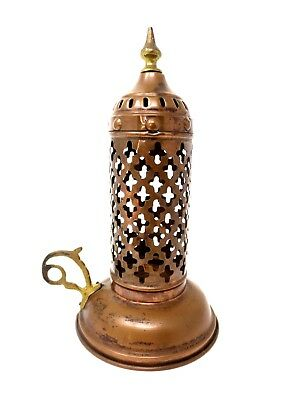 Copper Candle Holder Lantern - Pierced Reticulated Middle-Eastern Glim Light