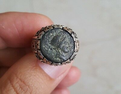 Cleopatra Authentic Ancient Coin 925 Sterling Silver Greek Motif Ring Sz 9.5