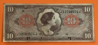 $10 US Military Payment Certficate FINE Old US Paper Money Currency! MPC!