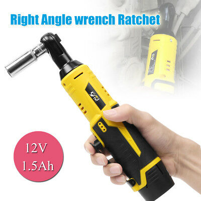 12V Cordless Right Angle Wrench Ratchet Kit 3/8'' 35Nm With LED + Li-ion Battery
