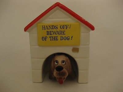 "Vintage Dog House Bank with Nodder Hound Dog ""Beware of the Dog"" Japan"