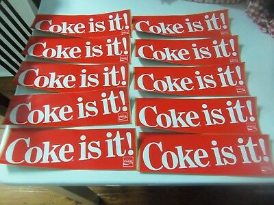 Lot of 10 Vintage Coca Cola Stickers Coke Is It -  New / Old Stock