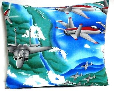 Airplanes Toddler Pillow on Blue Cotton AP9-1 New Handmade