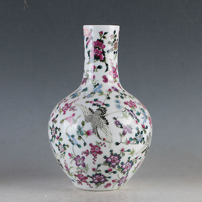 China Porcelain Hand Painted Crane&flowers Vase Made During The Qing Qianlong