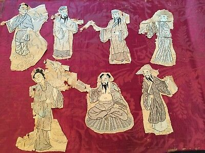 Chinese embroidered silk Fragments  7 incredibly embroidered silk figures.