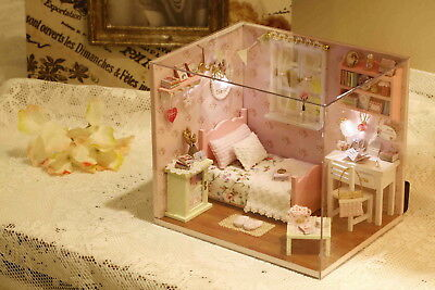 DIY Wooden DollHouse Miniature Kit w/ Cover /LED Light Dollhouse All Furniture