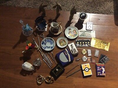 Vintage Junk Drawer Lot Gold currency collectibles Knick knacks art bars tokens