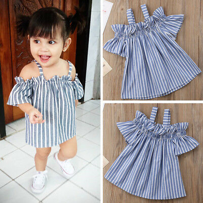 Baby Girls Kids Toddler Baby Stripe Princess Party Pageant Wedding Dresses