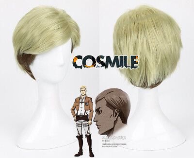 Attack on Titan Erwin Smith Cosplay Hair Wig + Hair Cap Anime Cos Gift Sa