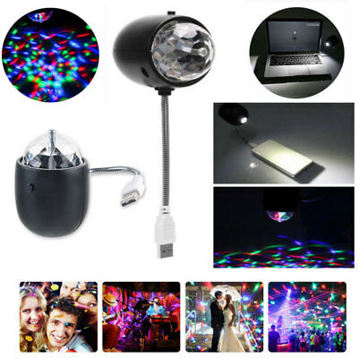 Mini USB RGB LED Stage Light Crystal Ball Disco Club DJ Party White Night Lamp