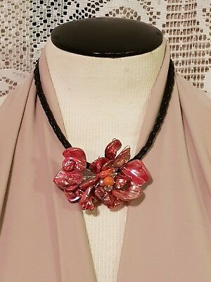 Stylish Hot Pink Dyed Mother of Pearl Shell Flower Pendant Black Rope Necklace