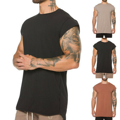 AU Mens Summer Fitness Tank Tops T-Shirt Sport Gym Bodybuilding Muscle Tees Vest