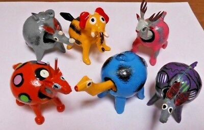 Six Unique Bobble Head Animals Giraffe/Rino/Elephant/Camel/Aardvark/Antelope