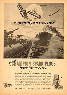 1944 WW2 AD  CHAMPION SPARK PLUGS  Art PT Boats in action !   041815