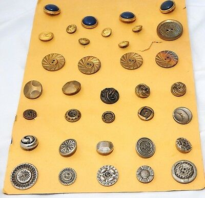 Vintage Buttons Metal Sewing Lot Antique POD Ornate 35 piece Assorted Mix