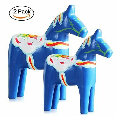 FishMM Set of 2 Europe's Swedish Wooden Dala Horse Figurine, Dalecarlian Horse