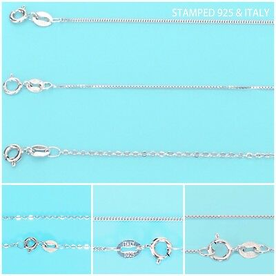 925 Sterling Silver Snake Box Chain Necklace .925 Italy All Sizes
