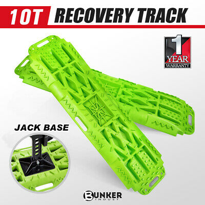 Pair Recovery Tracks 10T Sand Mud Snow Green Trax 4X4 4WD Offroad