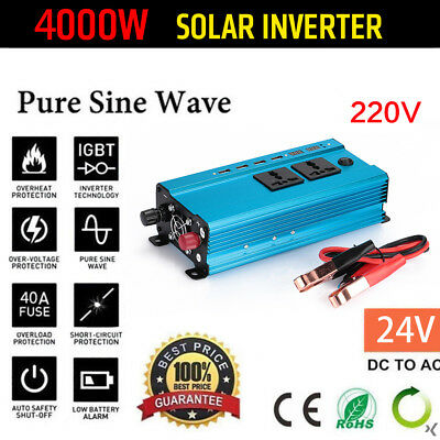 Car Solar Power Inverter 12/24V DC to 110/220V AC Wave Converter 4000W/3000W