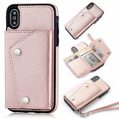 Leather Card Case Buckle Wallet Flip Strap Cover For iPhone XR 8 Plus 7 6S Phone