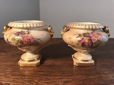 Beautiful Antique Royal Worcester Pair Hand Painted Urns
