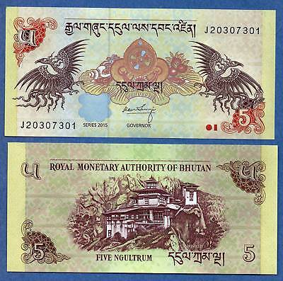 10 PCS Bhutan 2015  UNC 5 Ngultrum Banknotes Paper Money Bill P-28c