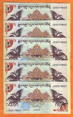 5 PCS Bhutan 2015  UNC 5 Ngultrum Banknotes Paper Money Bill P-28c