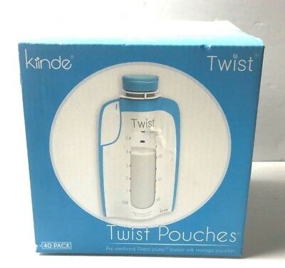 Kiinde Breast Milk Storage Bag Twist Pouches Pre Sterilized 40 Packs New Sealed