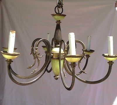 1900s Antique Bronze And Onyx Ornate French Style 6 Candle Chandelier Spain